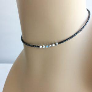 iridescent-black-seed-bead-choker-six-metal-beads
