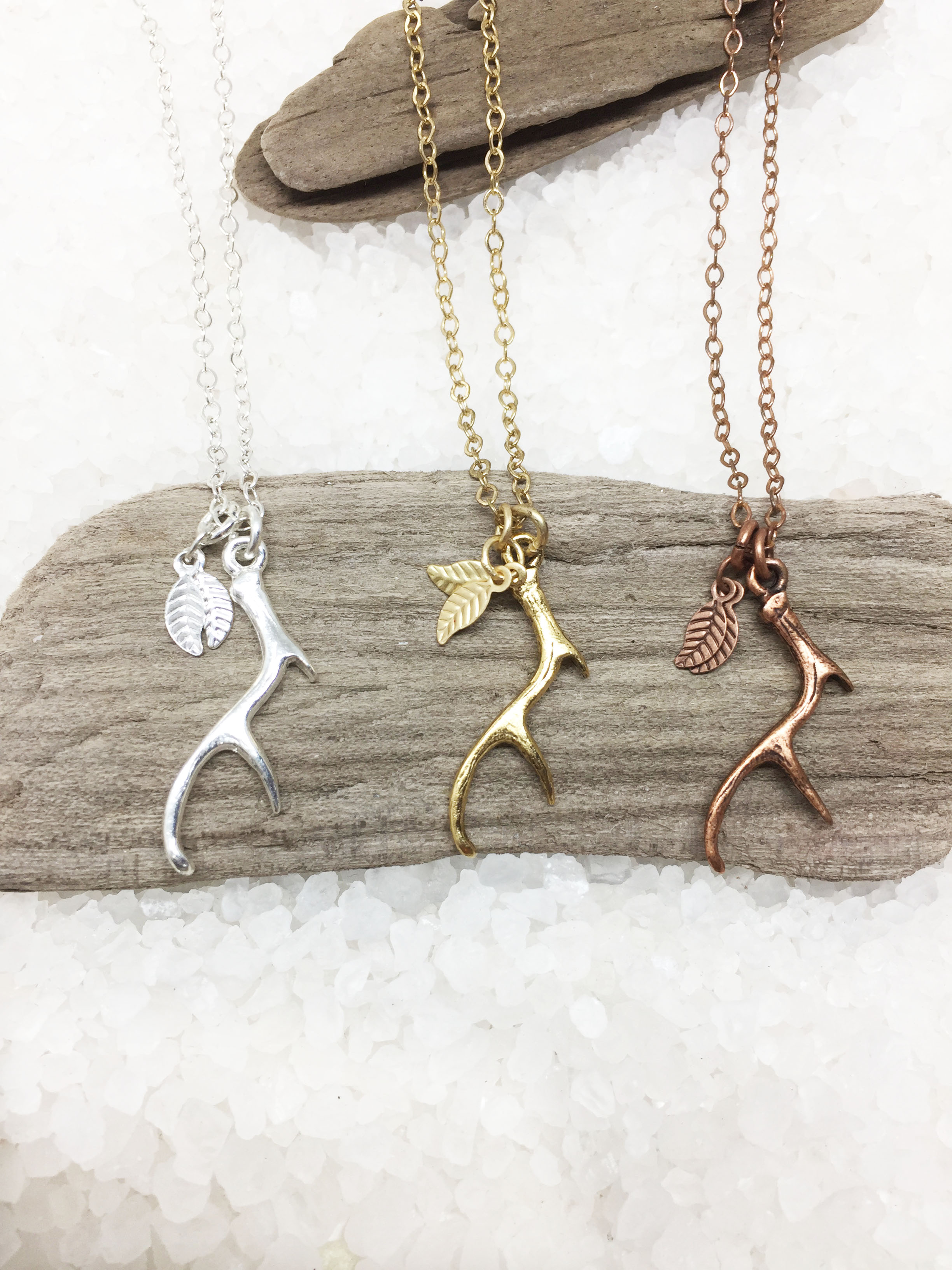 antler charm personalized necklace deer antler charm