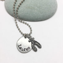 ballet shoes hand stamped necklace white