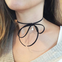 Choker Bow Necklace with Pearl Drop