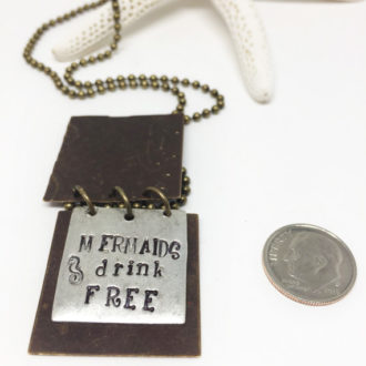 hand-stamped-mermaids-drink-free-necklace-dime