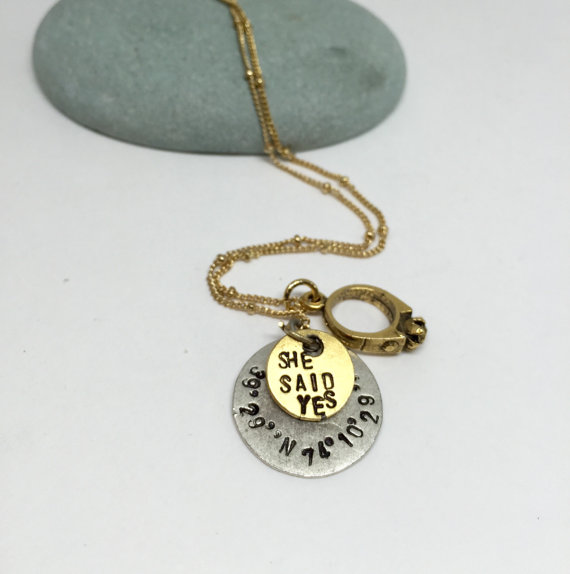 She Said Yes Engagement Hand Stamped Necklace