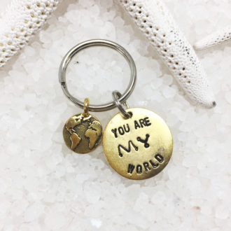 You Are My World Hand Stamped Keychain