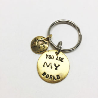 You Are My World Hand Stamped Keychain White