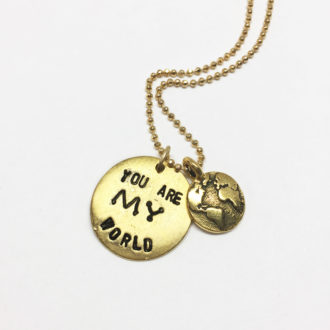 You Are My World Hand Stamped Necklace White