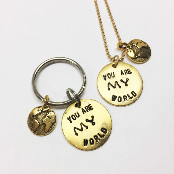 You Are My World Hand Stamped Necklace and Keychain White