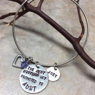 Aunt Hand Stamped Bangle Bracelet