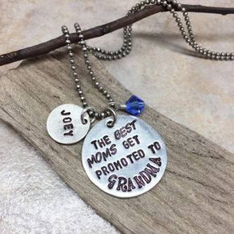 Grandma Hand Stamped Necklace Name Crystal Options