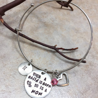 Mom Hand Stamped Bangle