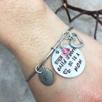 Mom Hand Stamped Bangle Bracelet Wrist