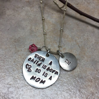 Mom Hand Stamped Necklace Name Crystal Options