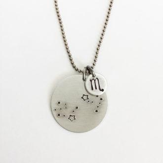 Scorpio Constellation Hand Stamped Necklace White