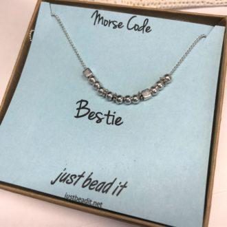 Morse Ci=ode Necklace Silver Bestie