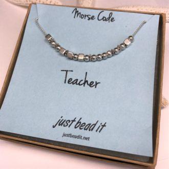 Morse Code Necklace Silver Teacher