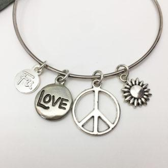Peace Love Sunshine Bangle Bracelet Closeup