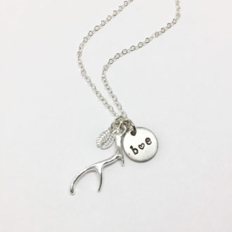 antler-charm-necklace-silver-plate-stamped-white