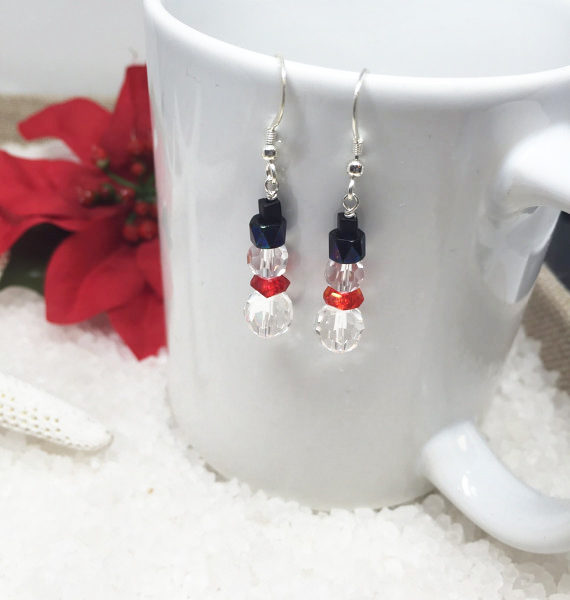 Crystal Snowman Earrings Cup