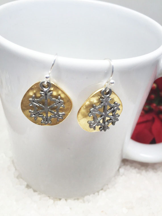 Silver Snowflake Earrings Gold Disc Olympic Winter Snow