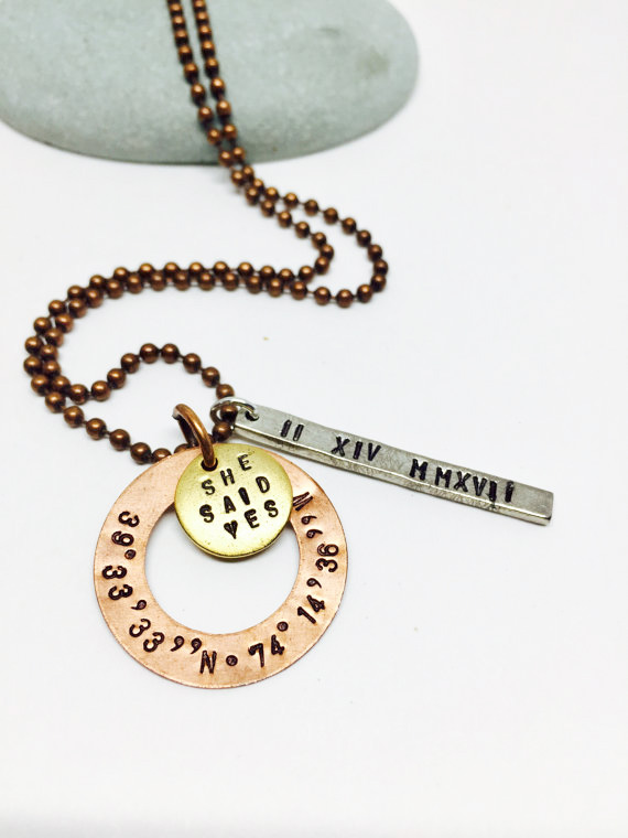 Coordinate engagement necklace she said yes roman for How do you make hand stamped jewelry