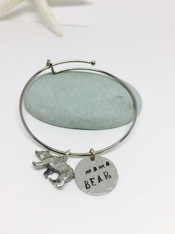 ead866f27 a Mama Bear bracelet – silver – Hand Stamped Bangle Bracelet – Just ...