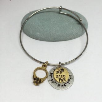 She Said Yes Engagement Hand Stamped Bracelet