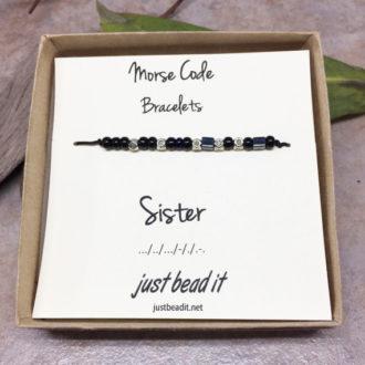Morse Code Sister Adjustable Bracelet