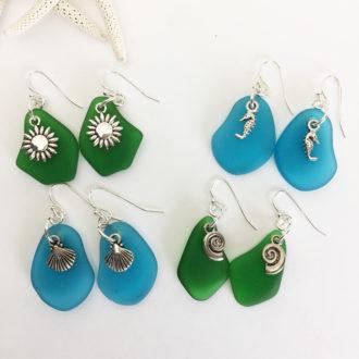 Beach Glass Earrings Group