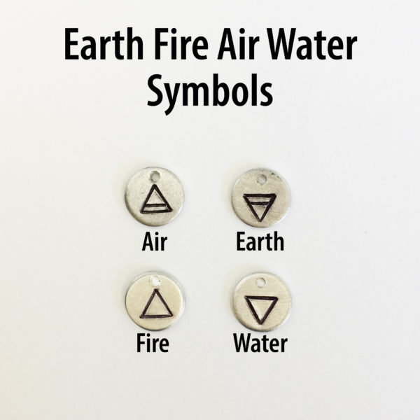 Earth Water Fire Air Symbol Zodiac Hand Stamped Charm Add On