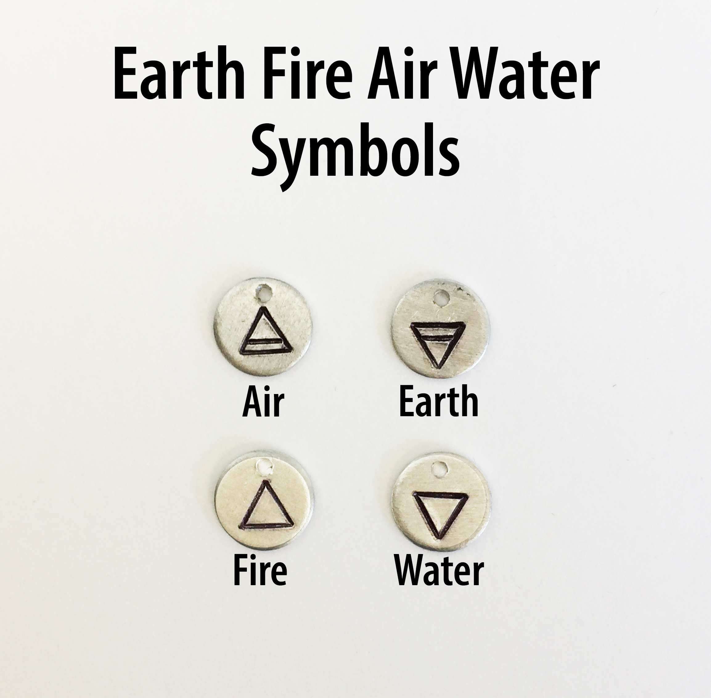 earth water fire air symbol zodiac hand stamped charm add on just