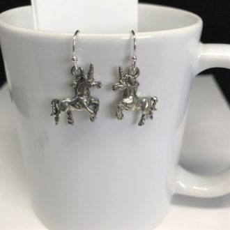 Unicorn Dangle Silver Earrings