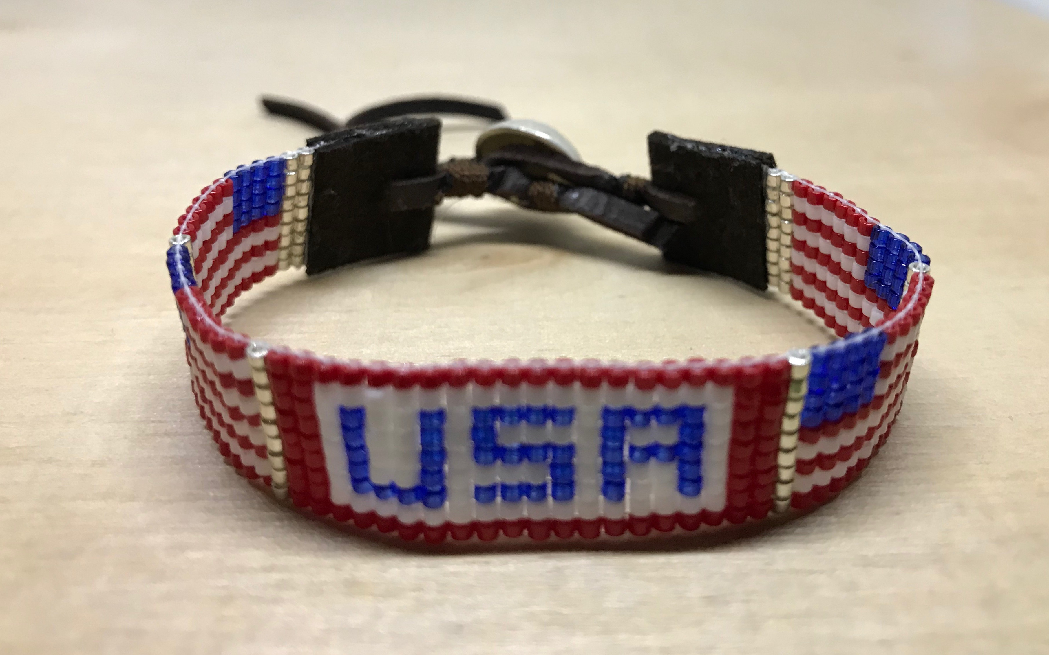 American Flag Bracelet Beaded Wood 1