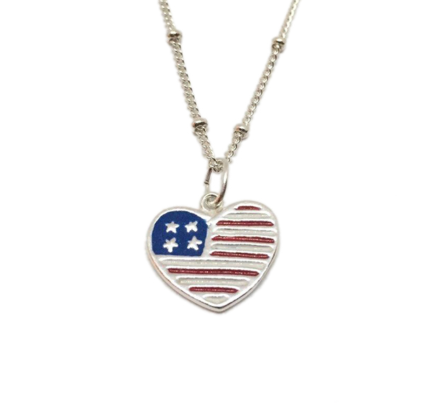 American flag usa heart necklace sterling silver american flag red white blue heart white aloadofball Choice Image
