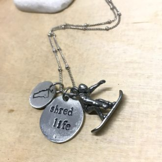 Shred Life Snowboarder Necklace wood