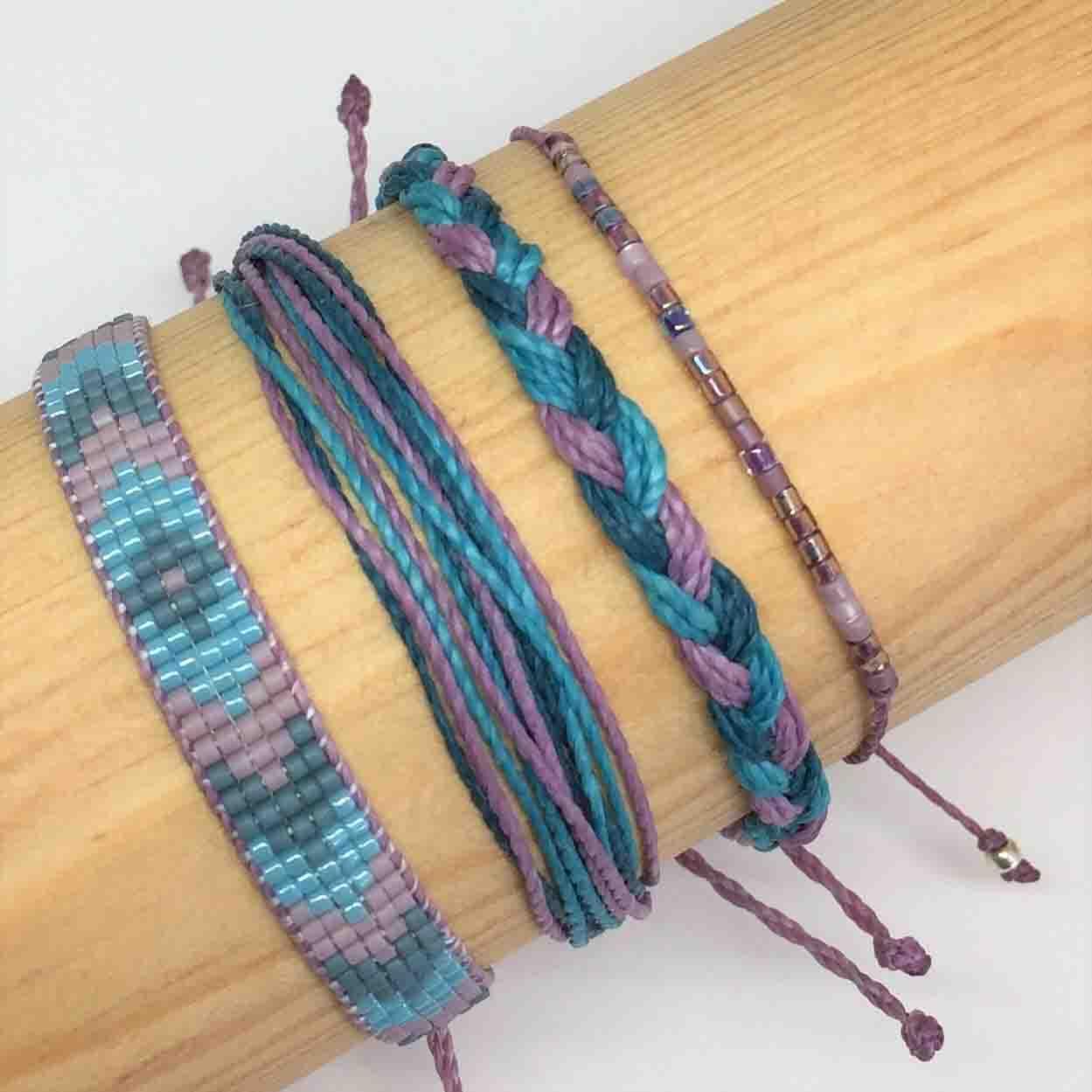Purple Denim Friendship Bracelets Four