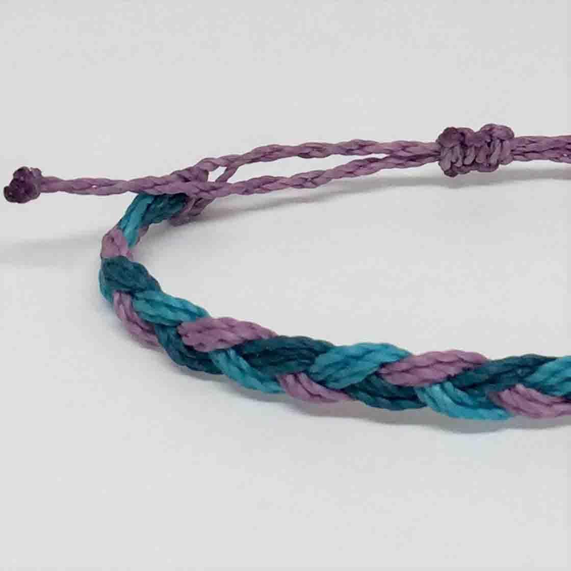 Bracelet Braided In Purple Denim Color
